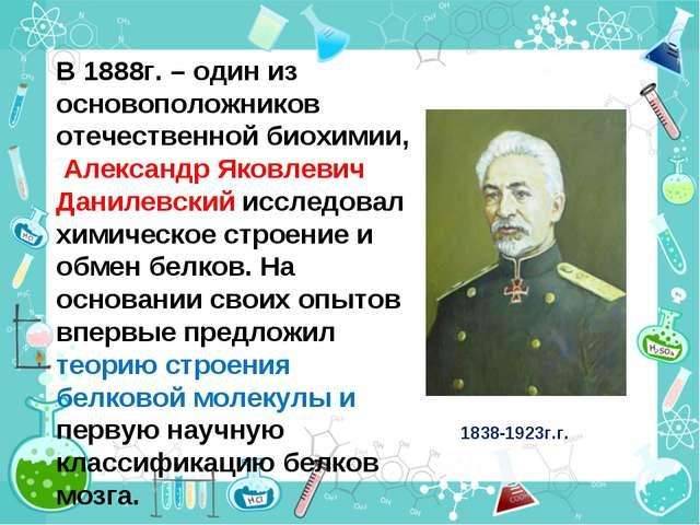 В 1888г. – один из основоположников отечественной биохимии, Александр Яковлев...
