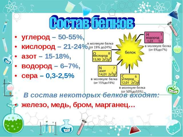 углерод – 50-55%, кислород – 21-24%, азот – 15-18%, водород – 6–7%, сера – 0,...