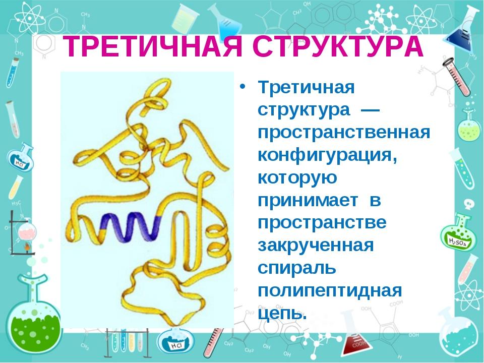 ТРЕТИЧНАЯ СТРУКТУРА Третичная структура — пространственная конфигурация, кото...