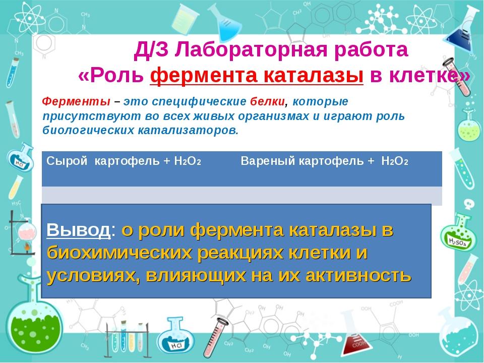 Д/З Лабораторная работа «Роль фермента каталазы в клетке» Ферменты – это спец...