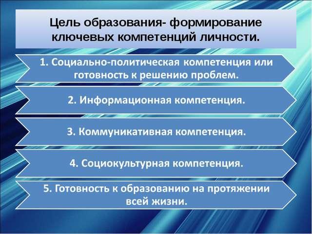 Цель образования- формирование ключевых компетенций личности.