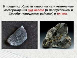 В пределах области известны незначительные месторождения руд железа (в Серпу