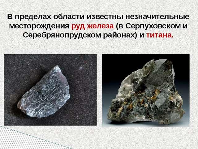 В пределах области известны незначительные месторождения руд железа (в Серпу...