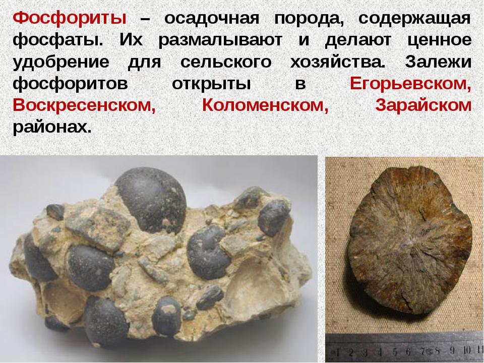Фосфориты – осадочная порода, содержащая фосфаты. Их размалывают и делают цен...