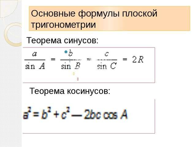 Основные формулы плоской тригонометрии Теорема синусов: Теорема косинусов: В...