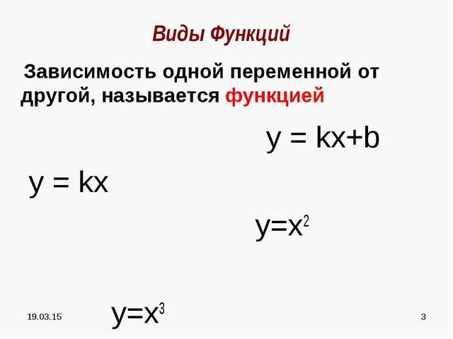 * * Виды Функций Зависимость одной переменной от другой, называется функцией...