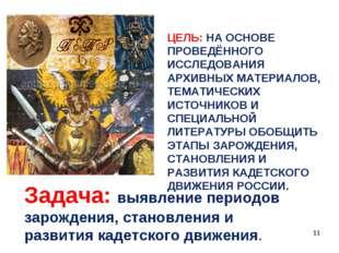 ЦЕЛЬ: НА ОСНОВЕ ПРОВЕДЁННОГО ИССЛЕДОВАНИЯ АРХИВНЫХ МАТЕРИАЛОВ, ТЕМАТИЧЕСКИХ