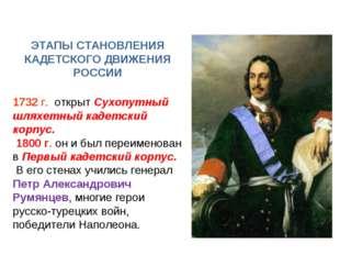ЭТАПЫ СТАНОВЛЕНИЯ КАДЕТСКОГО ДВИЖЕНИЯ РОССИИ 1732 г. открыт Сухопутный шляхет