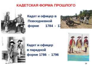 КАДЕТСКАЯ ФОРМА ПРОШЛОГО Кадет и офицер в Повседневной форме 1784 - 1796 Каде