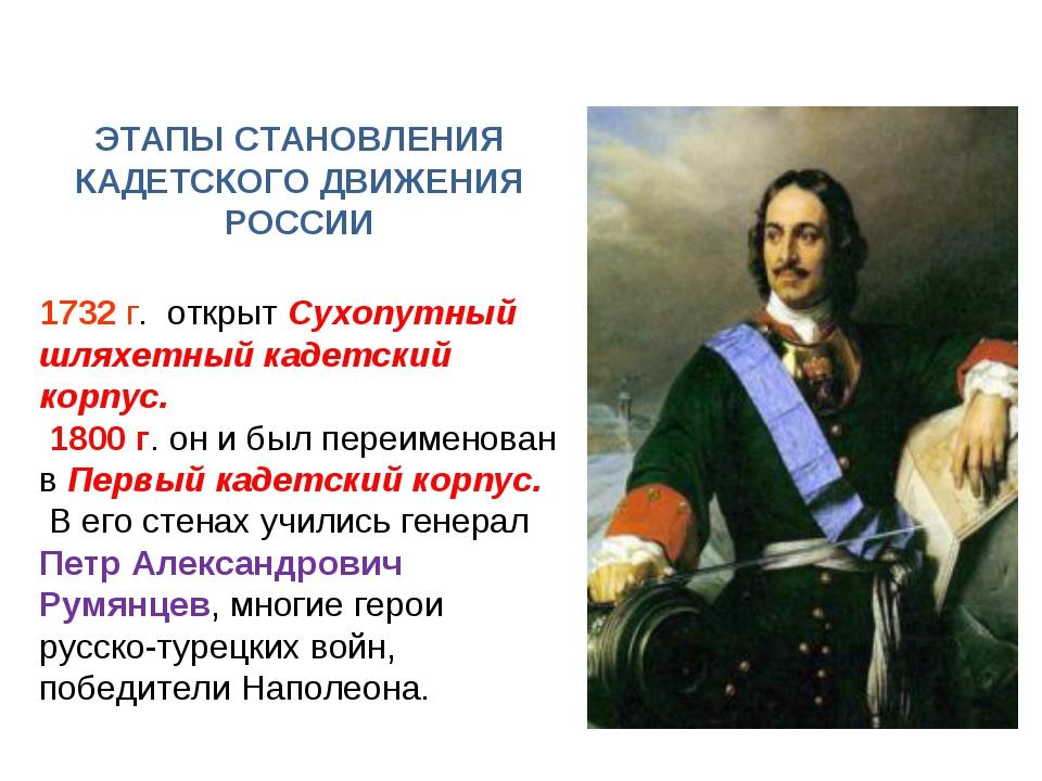 ЭТАПЫ СТАНОВЛЕНИЯ КАДЕТСКОГО ДВИЖЕНИЯ РОССИИ 1732 г. открыт Сухопутный шляхет...