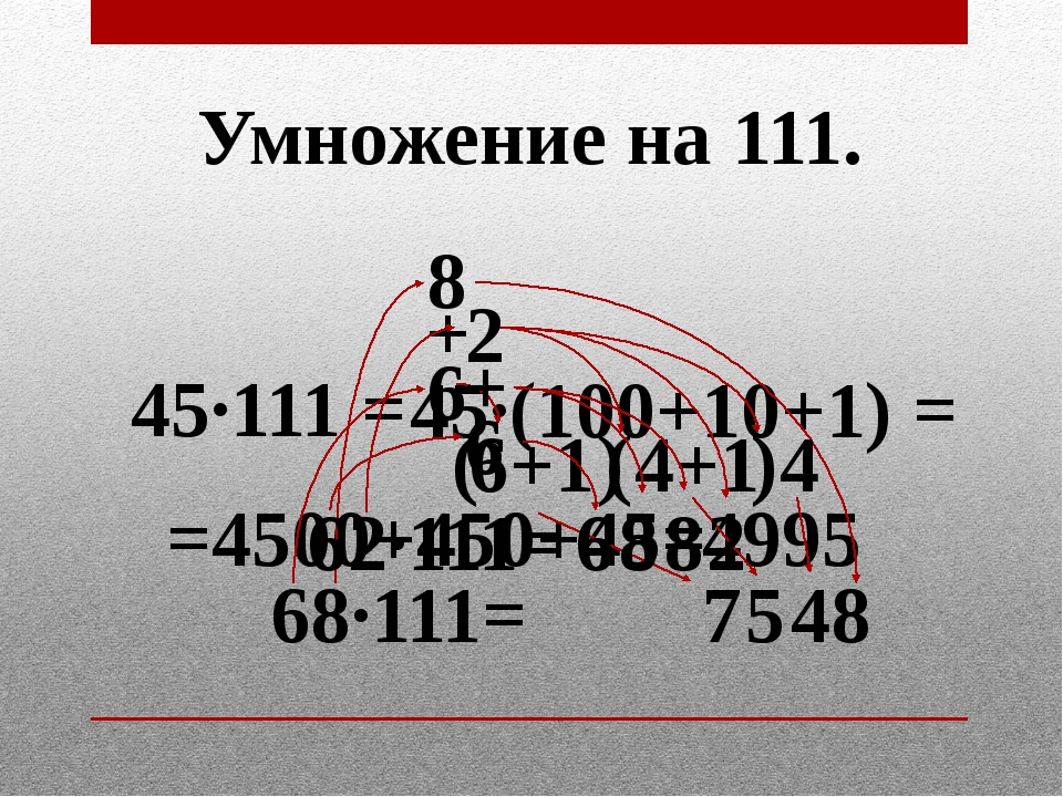 Умножение на 111. 45·111 = 45·(100+10+1) = =4500+450+45= 4995 68·111= 6 8 7 8...