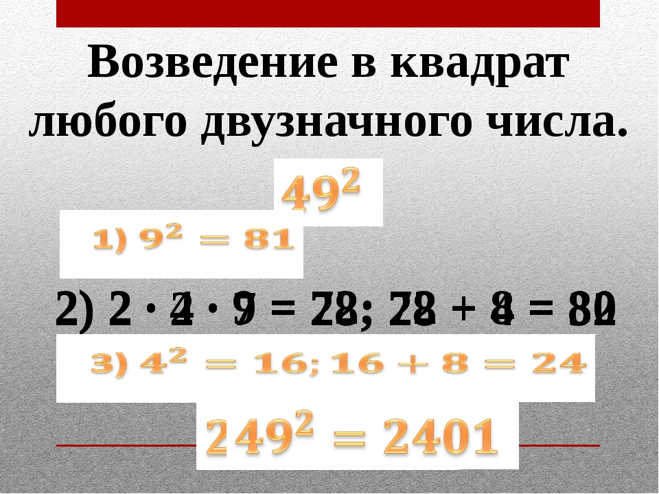 Возведение в квадрат любого двузначного числа. 2) 2 · 2 · 7 = 28; 28 + 4 = 32...