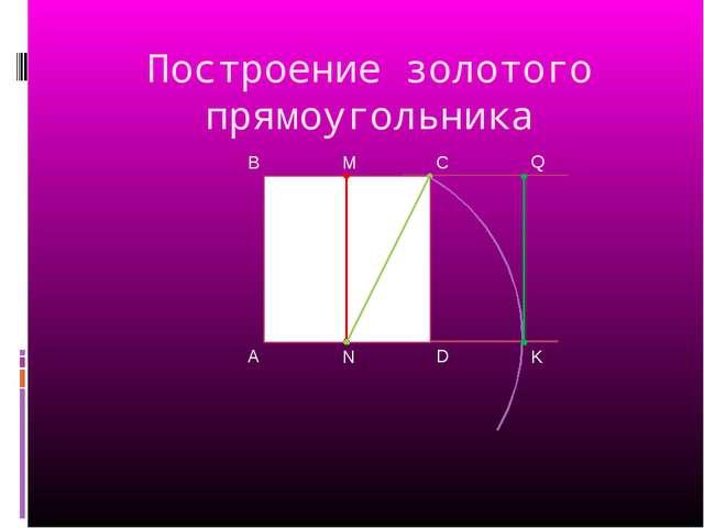 Построение золотого прямоугольника A B D C M K Q N