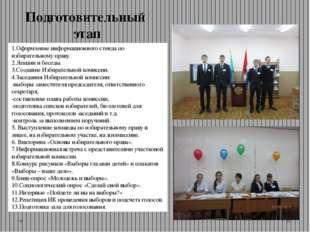 1.Оформление информационного стенда по избирательному праву. 2.Лекции и бесед