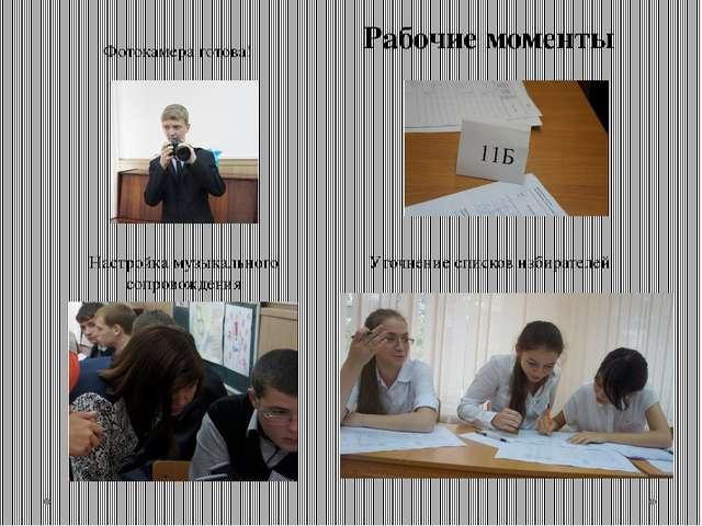Рабочие моменты Уточнение списков избирателей Настройка музыкального сопровож...