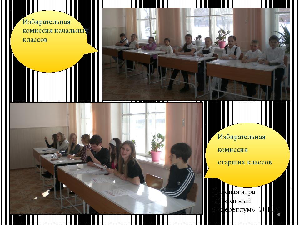 Избирательная комиссия начальных классов Избирательная комиссия старших клас...
