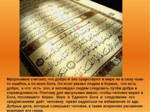 Мусульмане считают, что добро и зло существуют в мире не в силу чьих-то ошибо