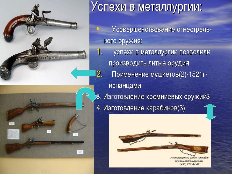 Успехи в металлургии: Усовершенствование огнестрель- ного оружия: успехи в ме...