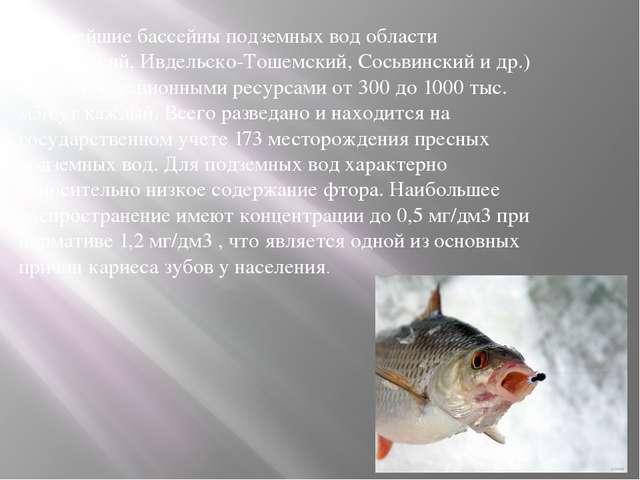 Крупнейшие бассейны подземных вод области (Тагильский, Ивдельско-Тошемский, С...