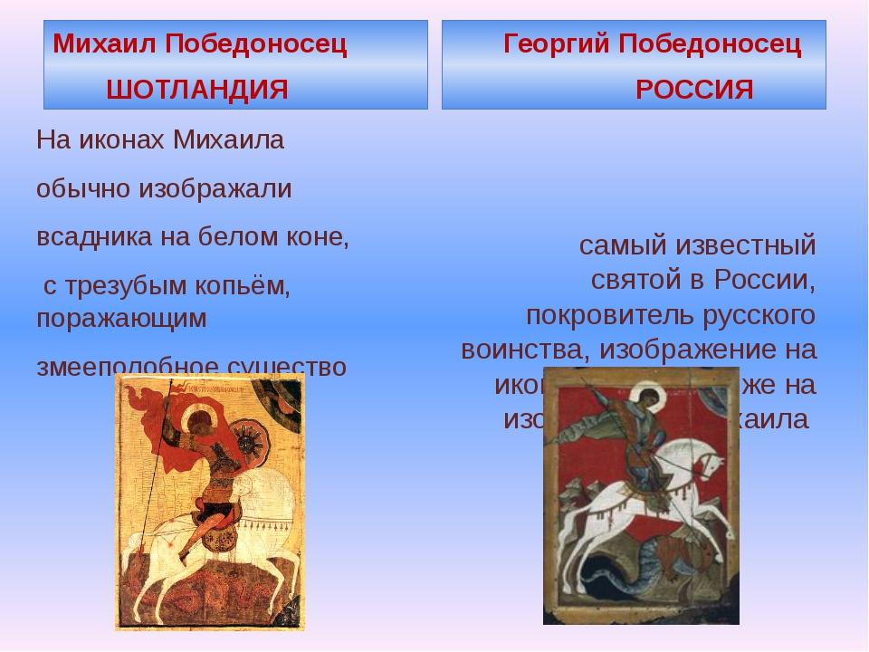 Михаил Победоносец ШОТЛАНДИЯ На иконах Михаила обычно изображали всадника на...