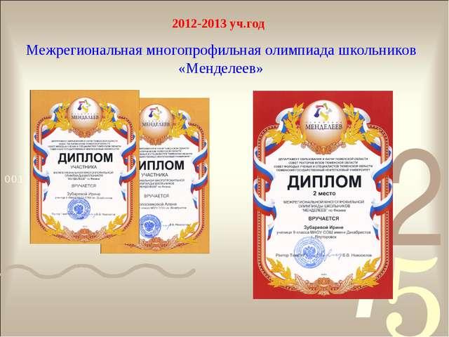 2012-2013 уч.год Межрегиональная многопрофильная олимпиада школьников «Мендел...