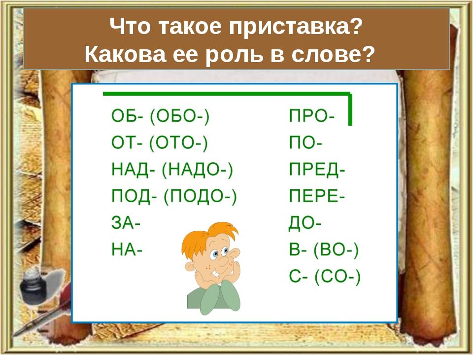 Что такое приставка? Какова ее роль в слове?