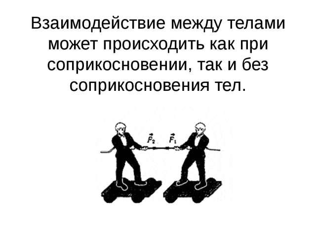 Взаимодействие между телами может происходить какпри соприкосновении, так и...