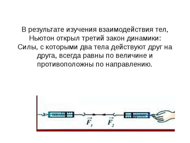 В результате изучения взаимодействия тел, Ньютон открылтретий закон динамики...