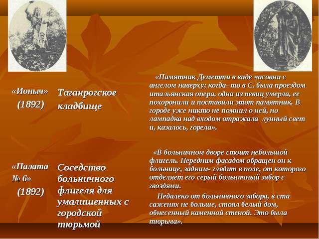 «Ионыч» (1892) Таганрогское кладбище «Памятник Деметти в виде часовни с ан...
