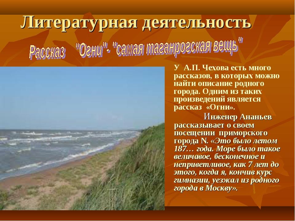 Литературная деятельность Инженер Ананьев рассказывает о своем посещении при...