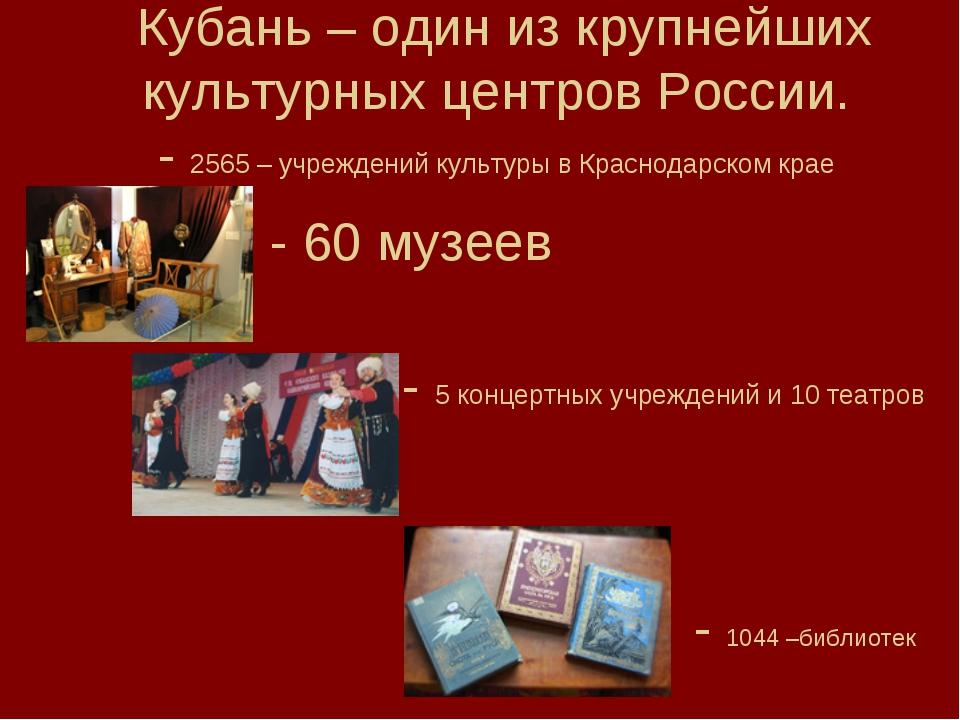 Кубань – один из крупнейших культурных центров России. - 2565 – учреждений ку...
