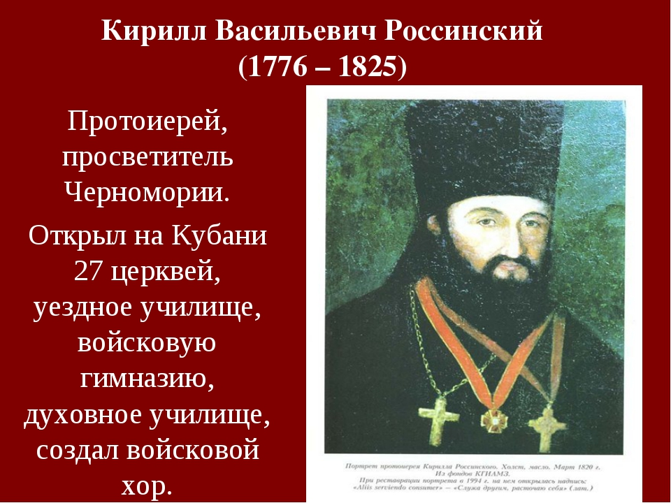 Кирилл Васильевич Россинский (1776 – 1825) Протоиерей, просветитель Черномори...