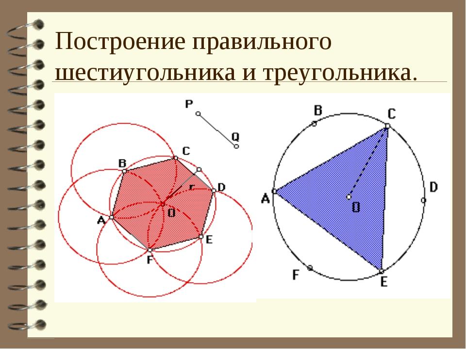 Построение правильного шестиугольника и треугольника.