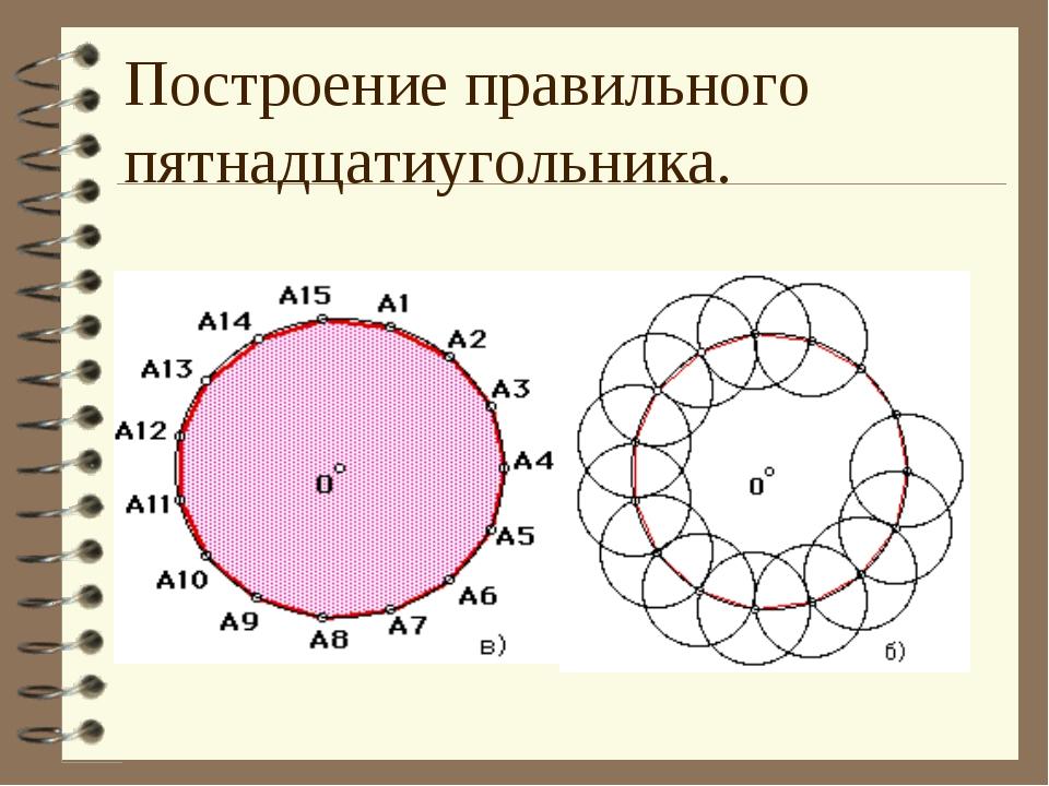 Построение правильного пятнадцатиугольника.