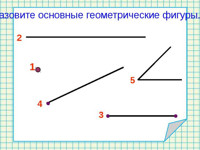 1 2 3 Назовите основные геометрические фигуры. 4 5