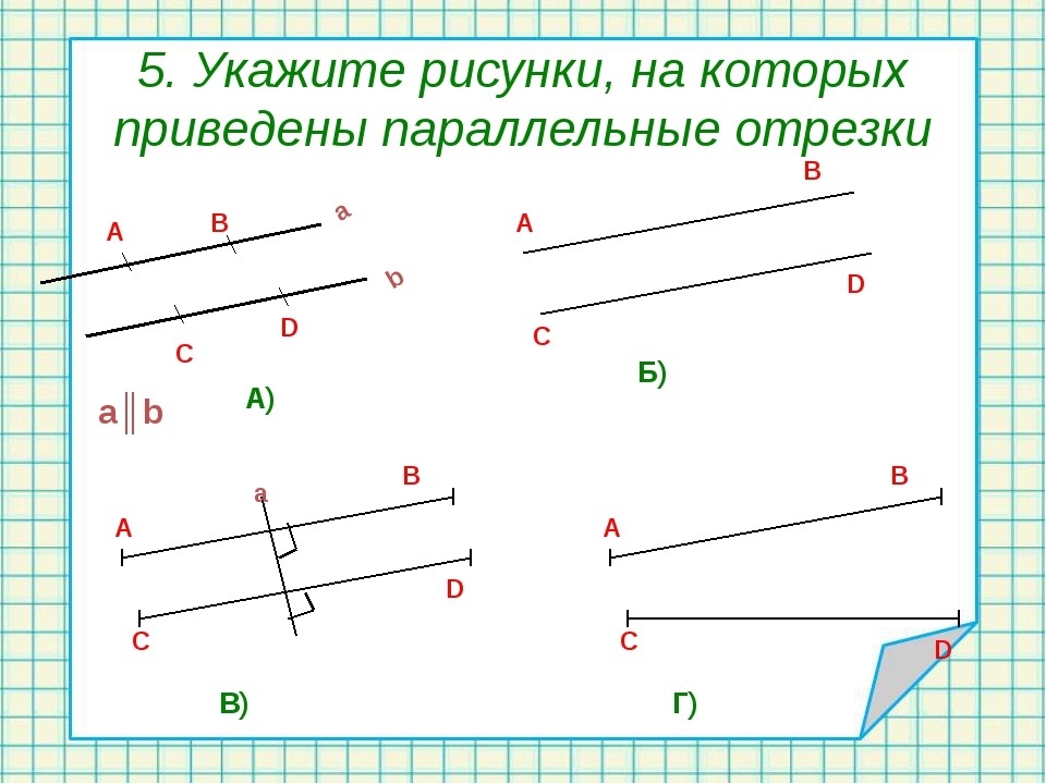 5. Укажите рисунки, на которых приведены параллельные отрезки a║b A) Б) В) Г)...