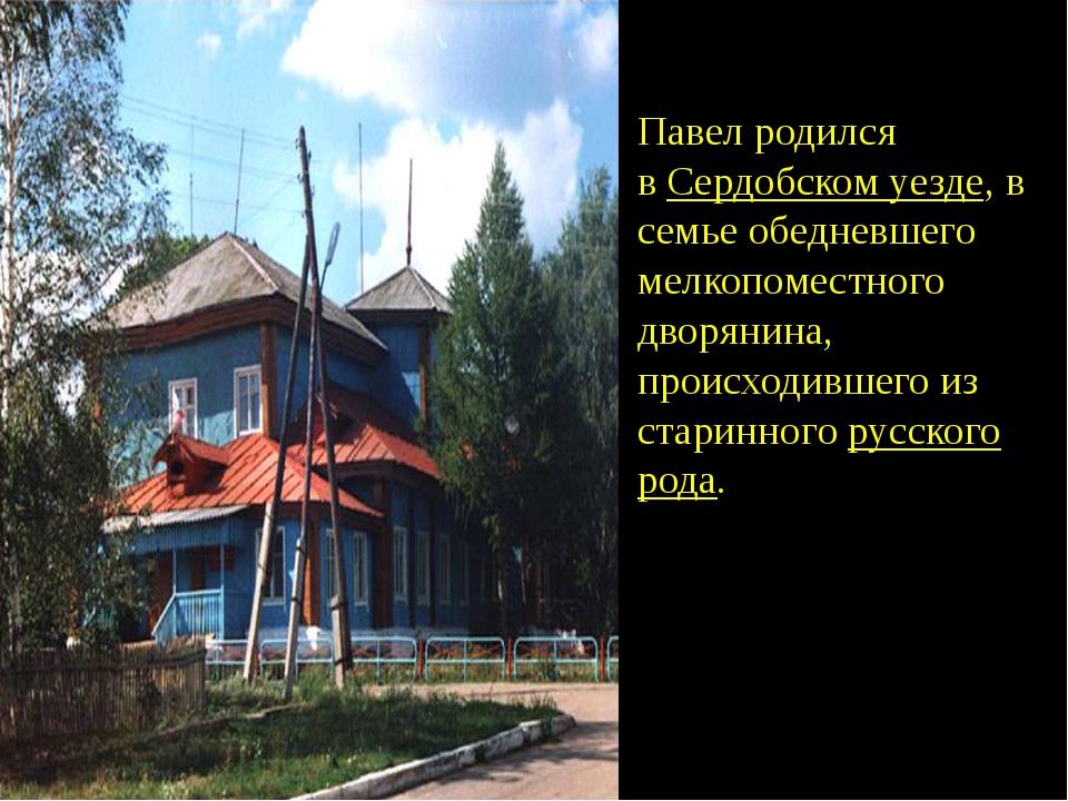 Павел родился вСердобском уезде,в семье обедневшего мелкопоместного дворян...
