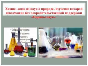 Химия –одна из наук о природе, изучение которой невозможно без покровительств