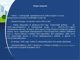 Общие сведения - Рыбно – Слободский муниципальный район входит в состав цент