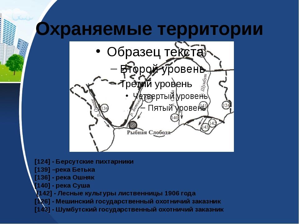 Охраняемые территории [124] - Берсутские пихтарники [139] –река Бетька [136]...