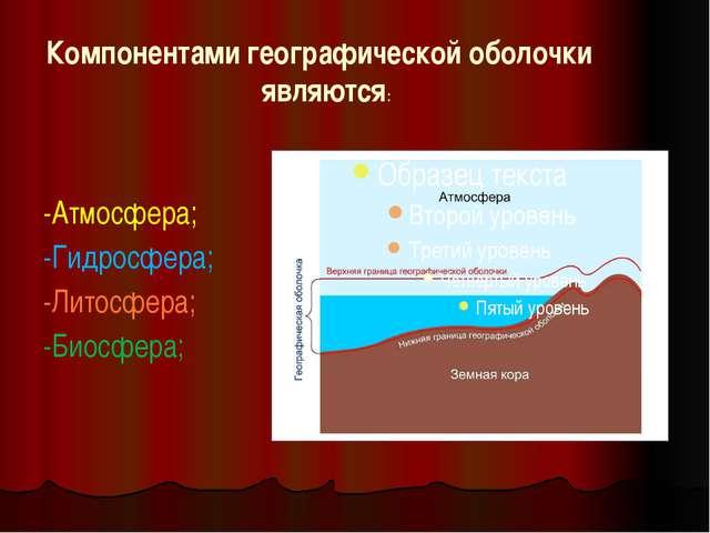 Компонентами географической оболочки являются: -Атмосфера; -Гидросфера; -Лито...