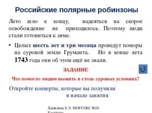 Отчеты команд о результатах работы Хапилина Е.Л. МОУСОШ №24 Кострома