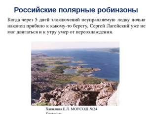 Российские полярные робинзоны Время от времени робинзон жег костры, чтобы обр
