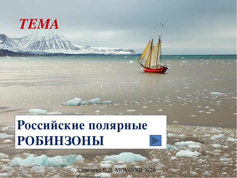 Российские полярные РОБИНЗОНЫ ТЕМА Хапилина Е.Л. МОУСОШ №24 Кострома