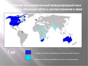 Английский как универсальный международный язык имеет очень обширную область