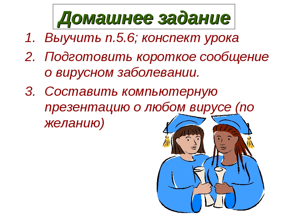 Домашнее задание Выучить п.5.6; конспект урока Подготовить короткое сообщение...