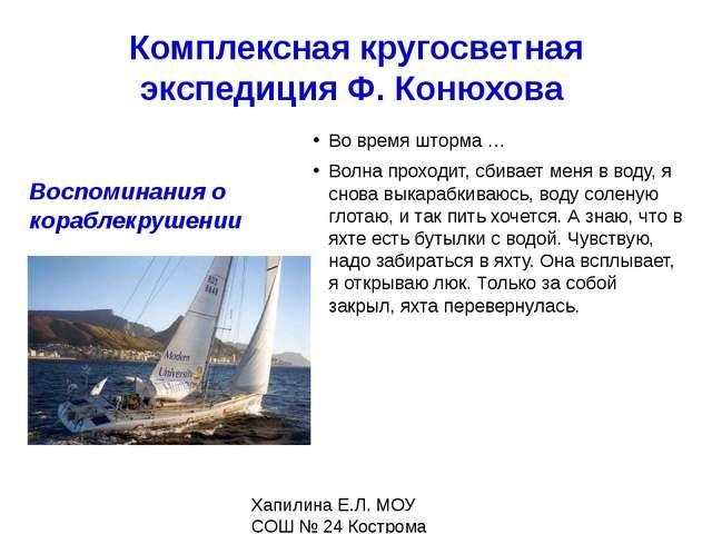 Комплексная кругосветная экспедиция Ф. Конюхова Внутри всё закрыто, работать...
