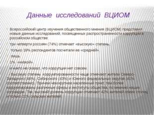 Данные исследований ВЦИОМ Всероссийский центр изучения общественного мнения (