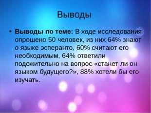Выводы Выводы по теме:В ходе исследования опрошено 50 человек, из них 64% зн