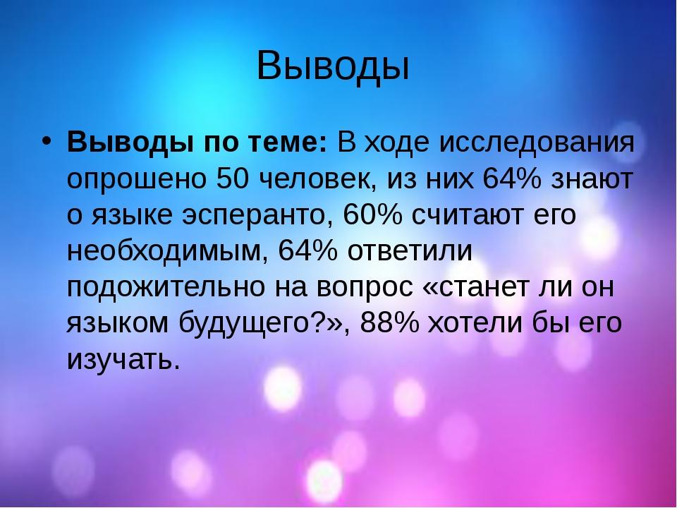Выводы Выводы по теме:В ходе исследования опрошено 50 человек, из них 64% зн...
